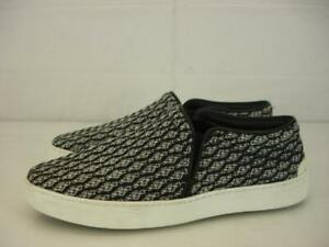 Womens-8-M-38-RAG-amp-BONE-Kent-Slip-On-Sneakers-Shoes-Black-White-Leather-Fabric