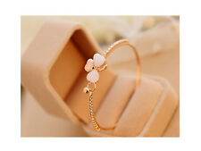 Glitz Fashion Gold Plated Clover Opal Charm Bracelet Bangle for Women