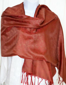 Stole from India Wrap Banaras Silk Red Woven Paisley Floral Design Shawl