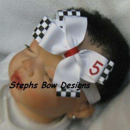 Custom # White /& Black Checkered Flag Layered Hair Bow Headband Nascar Racing