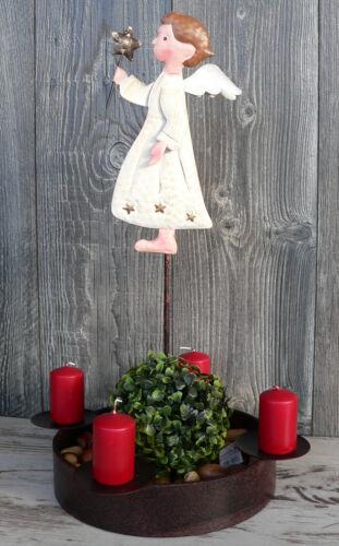 Adventskranz Metall mit Engel Schale Advent Weihnachten Kerzenschale rund Ø32cm