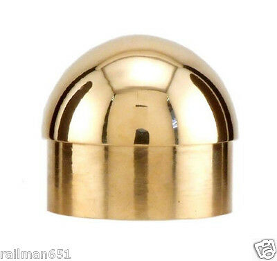 "POLISHED BRASS  DOMED END CAP- 1 1/2"" DIA. BAR RAIL CAP FOR 1 1/2"" TUBE"