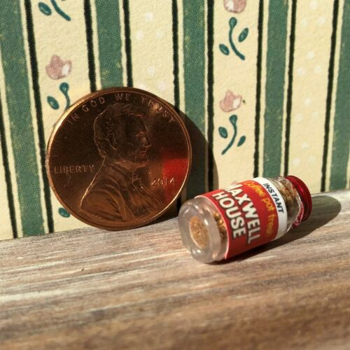 Dollhouse miniature Beverage 1:12 Vintage label Jar of Instant Coffee Powder NEW