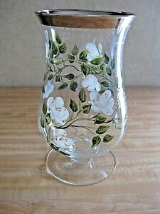 Beautiful-Hand-Painted-Signed-Crystal-Glass-9-034-Flower-Vase-Platinum-Top-Edge