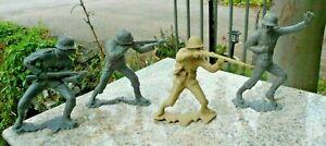 Vintage-Lot-4-1963-Louis-Marx-6-034-Gray-Tan-German-Japan-WWII-Toy-Soldiers-Army
