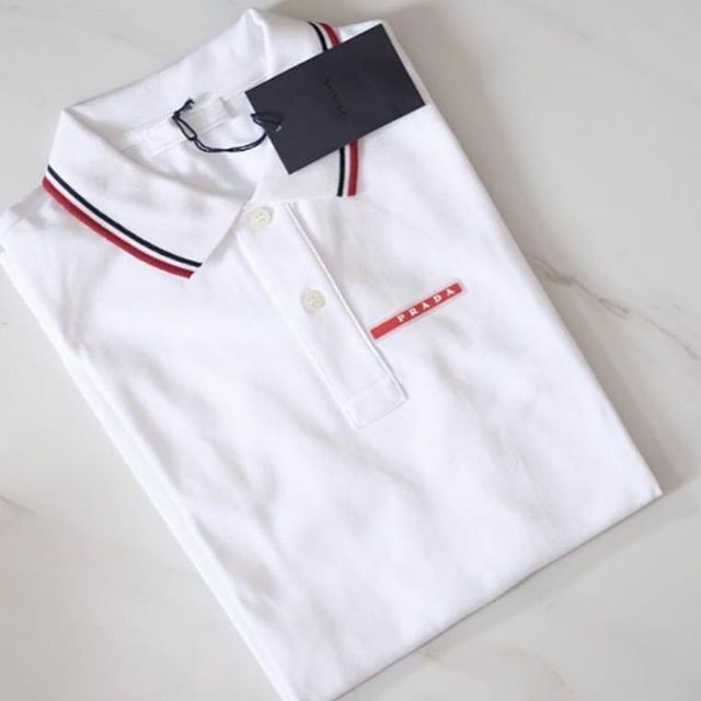 456626cc PRADA men's polo shirt black white gray short sleeve navy blue New 100%  Original