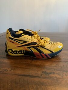 Reebok Futsal Fusion FV9289 Mens Yellow Low Top Lace Up Athletic Running Shoes