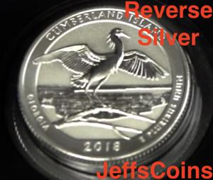 2018 S REVERSE Cumberland Island National Seashore 90/% Silver Proof Park Quarter