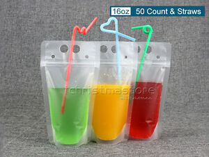 Image Is Loading Ziplock Drink Bags Stand Up Reclosable Zipper Drinking