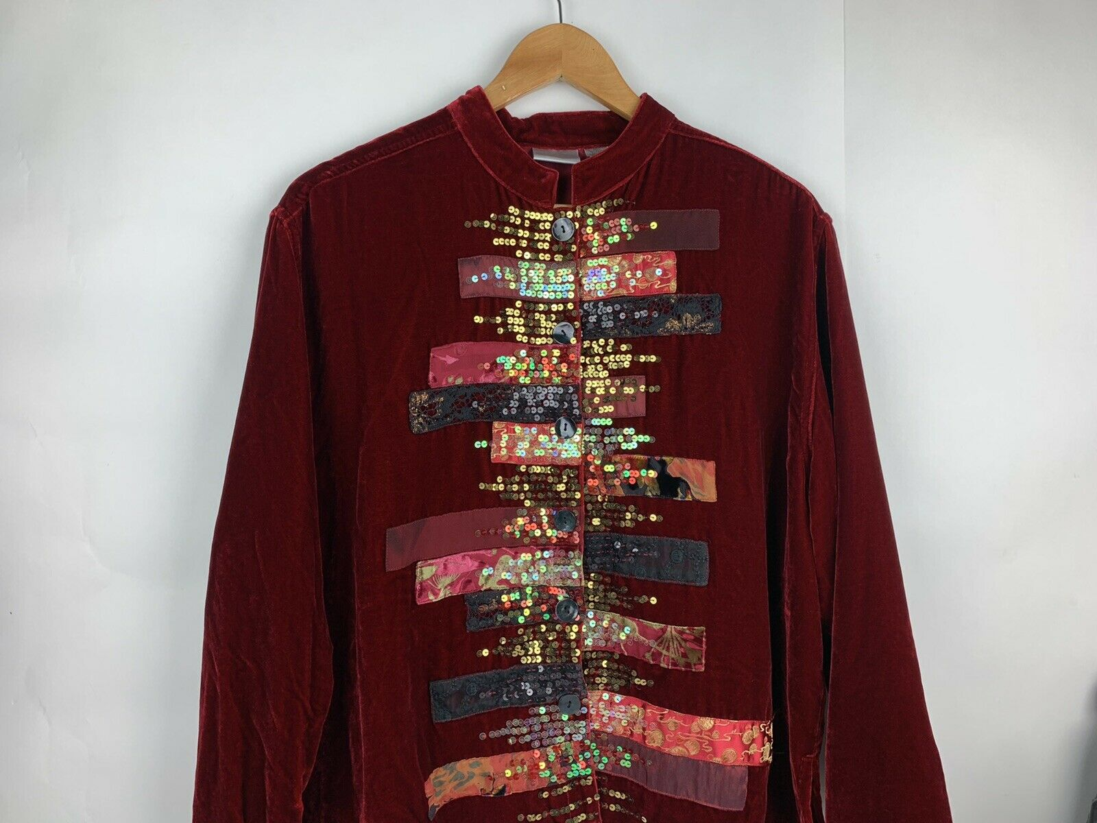 Chicos Womens Button Jacket Red Velvet Velour Ope… - image 3