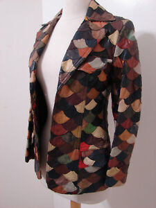 VINTAGE-1970-039-s-Leather-Jacket-Groovy-Hippie-Layered-Patchwork-Like-XS