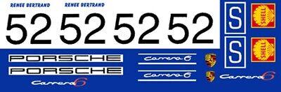#52 Renne Bertrand Porsche Carrera 6 Porsche 10 1//32nd Scale Slot Car Decals
