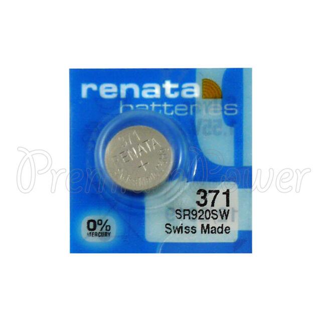 1 x Renata 371 Silver oxide battery 1.55V SR920SW Watch SR69 0% Mercury