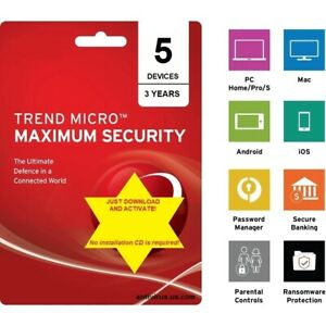 Trend Micro Maximum Security 2021 - 5 Devices/3 Years (DLC - download content)