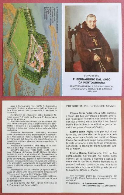 Santino Holy Card a libretto: Servo di Dio P. Bernardino dal Vago da Portogruaro