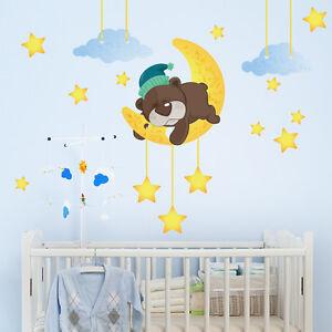 Adesivi Murali Orsetti.Dettagli Su R00097 Wall Stickers Sticker Adesivi Murali Orsetto Che Dorme Sulla Luna 30x120