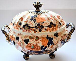 Antique-Vintage-English-Porcelain-Regency-Imari-Large-Tureen-Face-Handle-C-1830