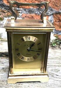 Vintage Brass Quartz Carriage Clock J W Flynn English Heavy Mantle Display Piece