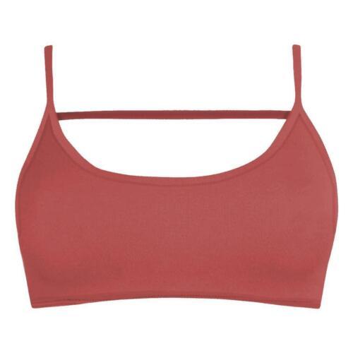 New Womens Plain Open Back Vest Backless Strappy Bralet Sport Cami Bra Crop Top