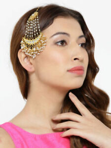 Details About Indian Bollywood Fashion Pearl Jhoomar Pa White Forehead Partywear Jewels