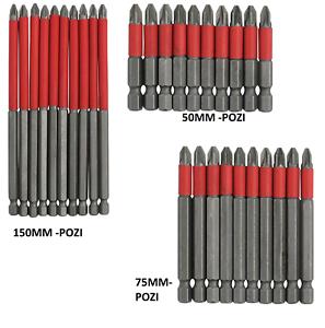 10pc POZI-2 Screwdriver Bit Set HEX BitsS 150mm Extra Long Reach Non-Slip PZ2