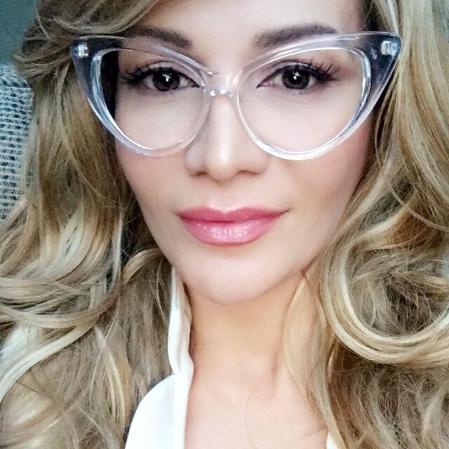 cdc96aa519b0 Large Cat Eye Crystal Clear Translucent PinUp Fashion Big Eyeglasses Frames  1377
