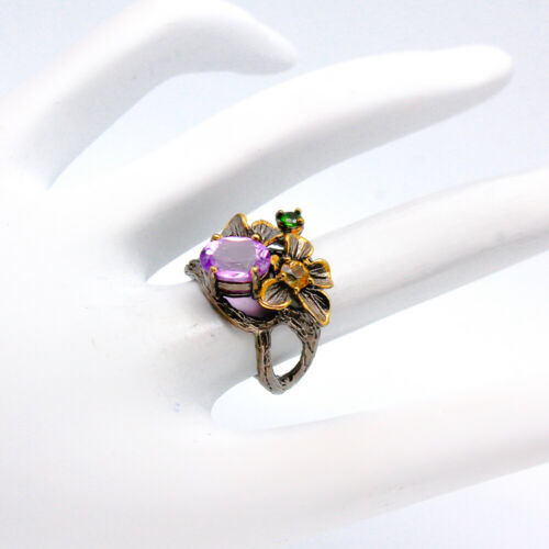 Améthyste Naturelle 925 Sterling Silver Ring//RVS95 Handmade Jewelry Ring