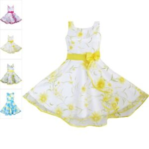 d56882f5e Pageant 3 Layers Girls Dress Sunflower Wave Bridesmaid Kid Baby ...