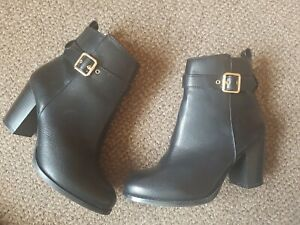 FAITH Black Leather Ankle Boots GOLD