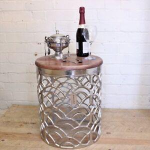 Image Is Loading Jantar Metal Side Table Rough Cast Aluminium Wood