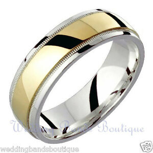 Image Is Loading 14k Two Tone White Yellow Gold Mens Wedding