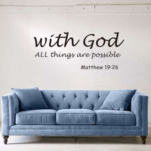 1PC DIY Bible Verse Non-toxic With God All Things are Possible Wall Stickers