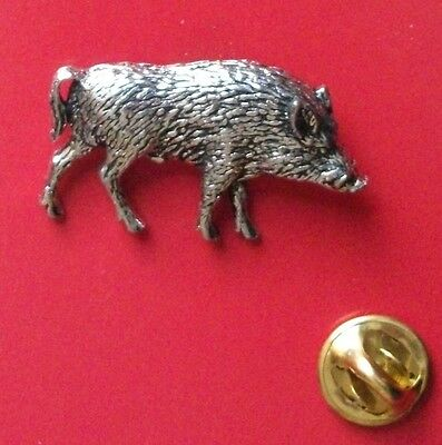 Lapel Badge A55 English Pewter Springing Wild BOAR Pin Badge Tie Pin