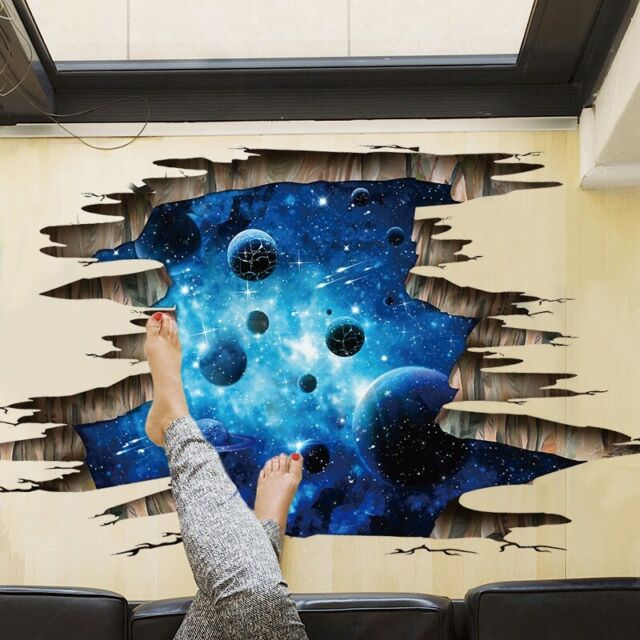 3D View Outer Space World Universe Galaxy Planet Removable Wall Stickers Decor