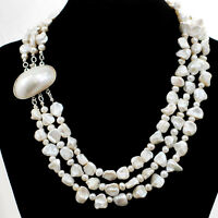 Ny6design 3 Strands Natural Freshwater Pearl Nugget &pendant Necklace 18 Gift