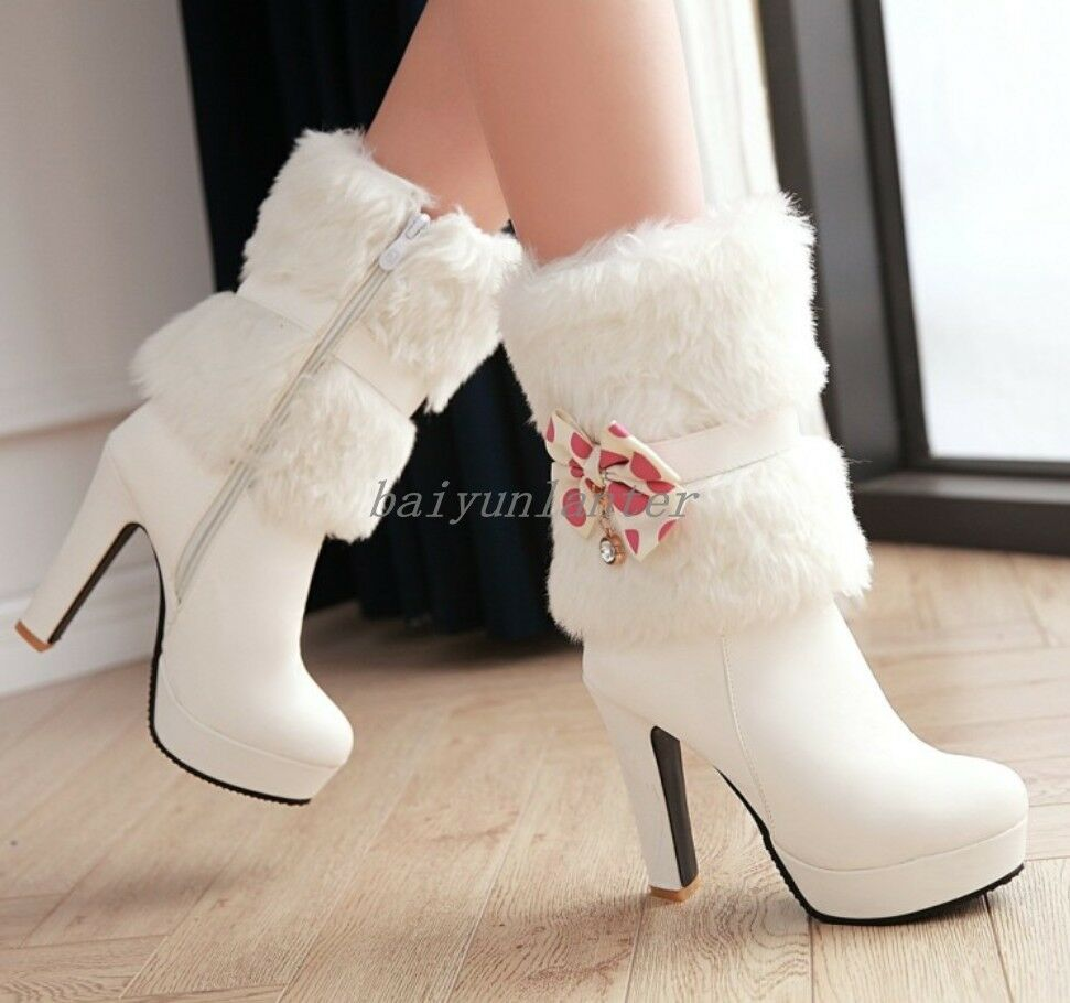 Ladies Snow shoes Ankle Boots Bowknot Fur Furry Shaft Side Zip Chunky Heel Warm