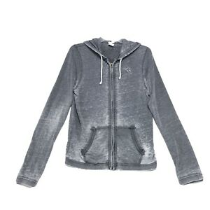 Abercrombie-amp-Fitch-Burnout-Full-Zip-Hoodie-Womens-Size-L-Large-Gray-Muscle-Logo