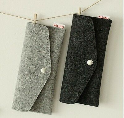 Wool Felt Silver Buckle Pen Pencil Case Multifunction Case student Bag Gray