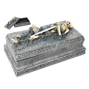 Skeleton Tomb Celtic Jewelry Box Warrior Knight Coffin Statue Box eBay