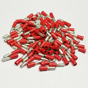 Insulated-Male-Red-Bullet-Terminal-Connector-Terminals-Crimp-Electrical