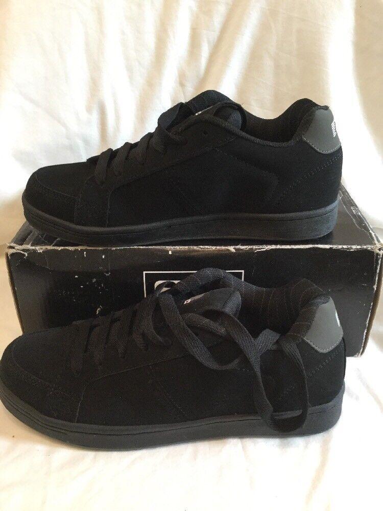 Globe Vice Negro Gris a Rayas Gamuza Para Hombre Chicos Zapatos de Skate tamaño de Reino Unido 7 Nuevo Y En Caja