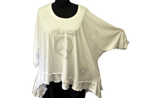 shirt ° tunika Rhinestone Layered ° Wave ribbons tip statement ° White ° ° Look ASqxYgX