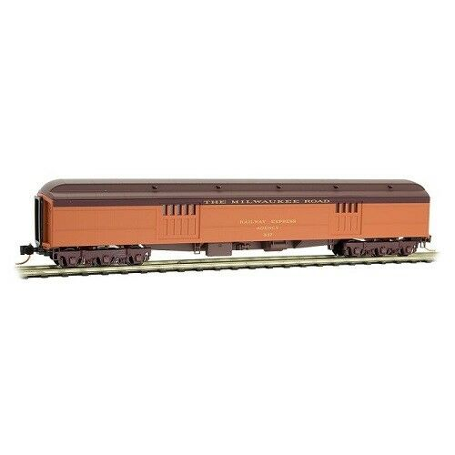 N Micro Trains 147 00 120 Milwaukee Road #837 70/' Heavyweight Baggage Car