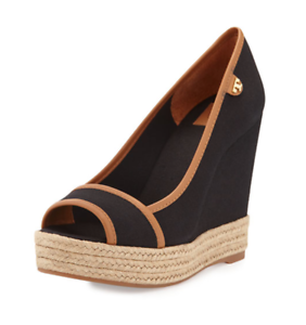 7d11827de Tory Burch Majorca Women s Black Tan Peep Toe Canvas Wedge Sz 39.5 ...