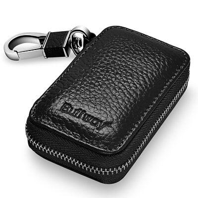 Key Fob Keychain >> Buffway Car Key Case Genuine Leather Car Smart Key Chain Keychain Holder Black Ebay