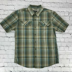Eddie-Bauer-Mens-Plaid-Shirt-Size-Medium-M-Green-Short-Sleeve-Button-Up-Casual