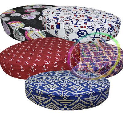 AL265r Blue Cream Geometric Cotton Canvas 3D Round Seat Cushion Cover Custom Siz