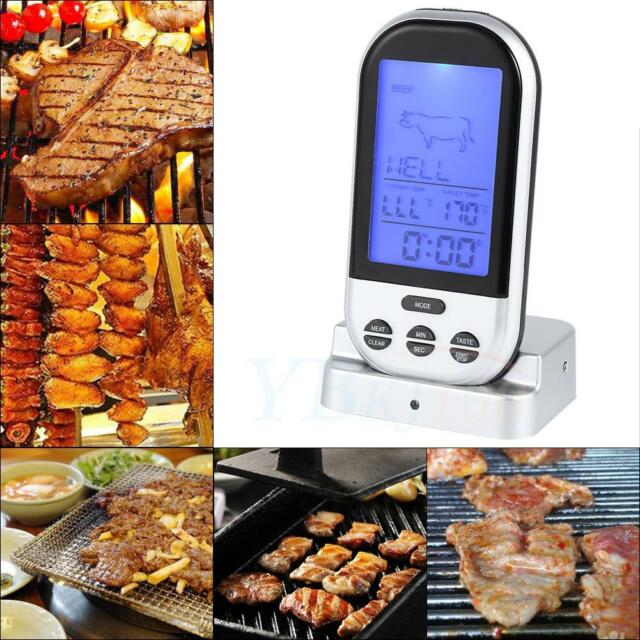 Wireless LCD Remote Thermometer BBQ Grill Meat Kitchen Oven Food Cooking Home