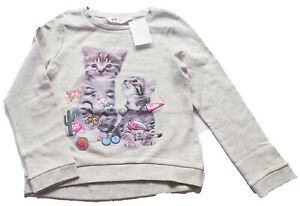 Sweat-Shirt-Gr-134-140-H-amp-M-NEU-hell-beige-grau-Katze-Pullover-kinder