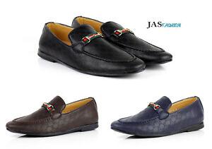 Hombre-Mocasines-Informales-Italiano-Moderno-Zapatos-SIN-CIERRES-Piel-Sintetica